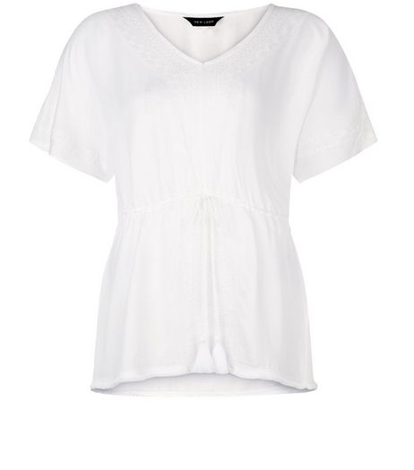 White Embroidered V Neck Tie Waist Top | New Look