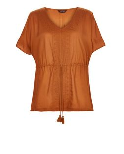 Tan Embroidered V Neck Tie Waist Top | New Look