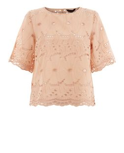 Shell Pink Floral Cut Out 1/2 Sleeve Top  | New Look
