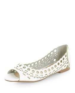 White Laser Cut Out Peep Toe Pumps  | New Look