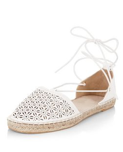White Laser Cut Out Ghillie Espadrilles  | New Look