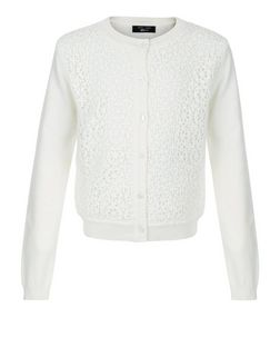 Girls Cream Crochet Knitted Cardigan  | New Look