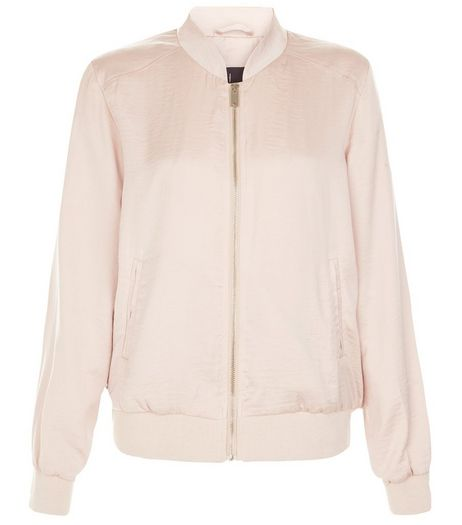 Shell Pink Sateen Bomber Jacket  | New Look