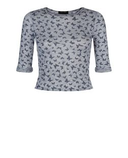 Girls Grey Butterfly Print 3/4 Sleeve Top | New Look