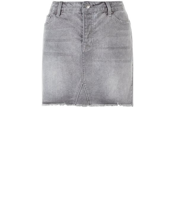 Dark Grey Fray Hem Denim Skirt