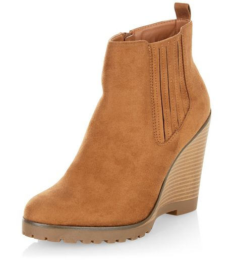 Tan Suedette Chelsea Wedges  | New Look