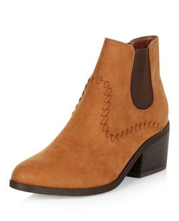 Tan Suedette Stitch Trim Western Boots  | New Look