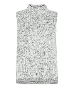 Petite Grey Twist Knit Funnel Neck Vest  | New Look
