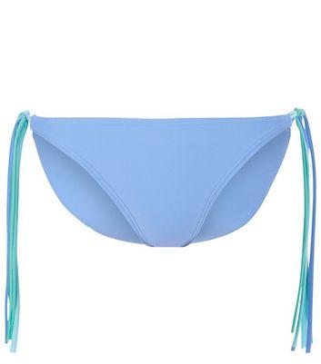 Blue Fringed Side Bikini Bottoms