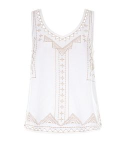 Cream Embroidered V Neck Sleeveless Top  | New Look