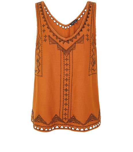Tan Embroidered V Neck Sleeveless Top  | New Look