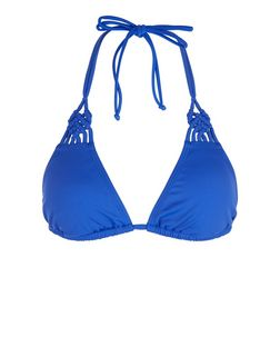Blue Knotted Bikini Top | New Look