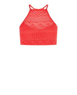 Red Crochet High Neck Bikini Top | New Look