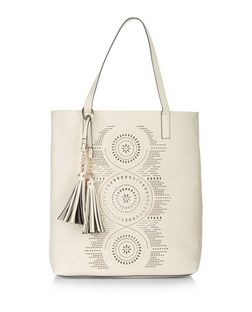 Stone Laser Cut Out Shopper Bag  | New Look