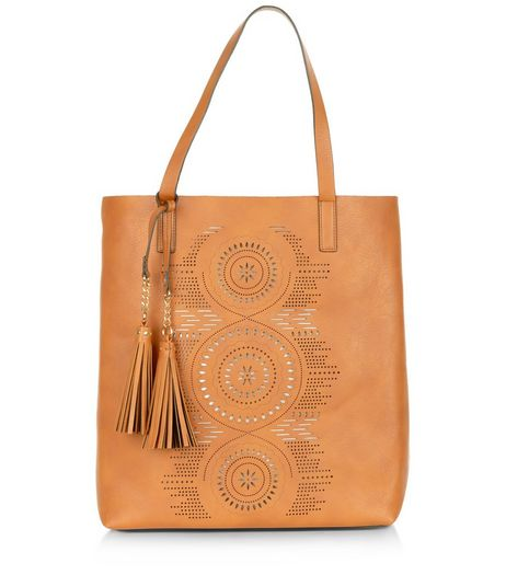 Tan Laser Cut Out Shopper Bag  | New Look