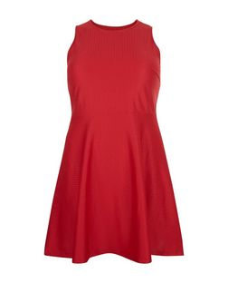 Curves Red Textured Skater Dress | New Look