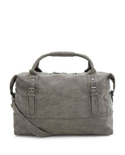 Grey Leather-Look Holdall Bag | New Look