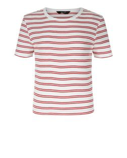 Teens Red Double Stripe Ribbed T-Shirt  | New Look