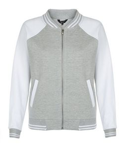 Teens Grey Baseball Bomber Jacket  | New Look