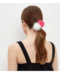 2 Pack Pink And White Pom Pom Hair Bands | New Look
