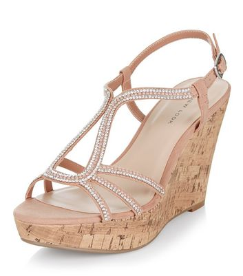 Sandalo  donna Stone Suedette Diamante Embellished Wedges