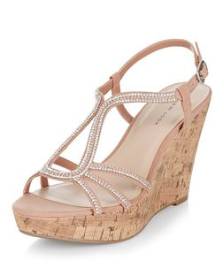 Stone Suedette Diamante Embellished Wedges  | New Look