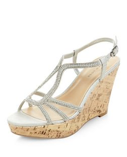 Silver Suedette Diamante Embellished Wedges | New Look