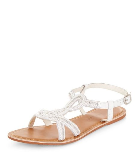 Teens White Leather Beaded Sandals | New Look