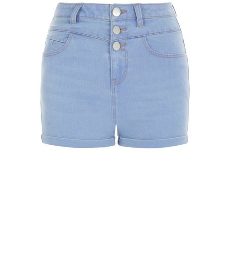 Light Blue High Waisted Denim Shorts  | New Look