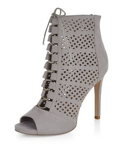 Grey Suedette Perforated Peep Toe Ghillie Heeled Boots  | New Look