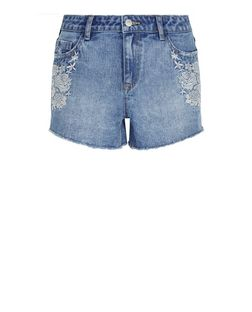 Blue Embroidered Trim Denim Shorts  | New Look