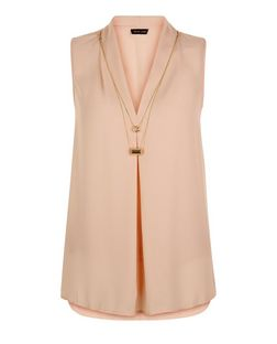 Shell Pink Necklace Front Top  | New Look