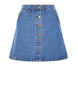 Blue Button Front Denim A-Line Skirt  | New Look