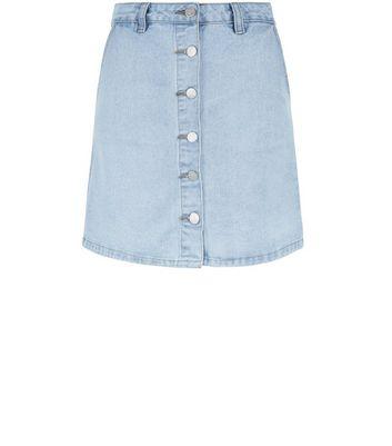 Gonna  donna Light Blue Button Front Denim A-Line Skirt