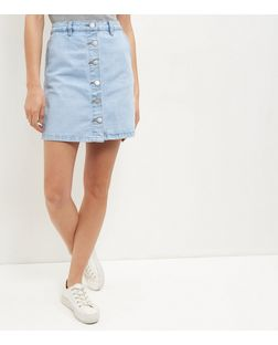 Light Blue Button Front Denim A-Line Skirt  | New Look