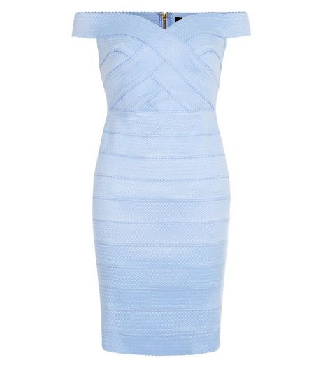 Light Blue Bardot Neck Bandage Bodycon Midi Dress  | New Look