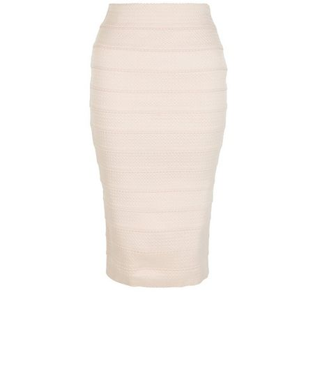 Shell Pink Bandage Zip Back Pencil Skirt  | New Look