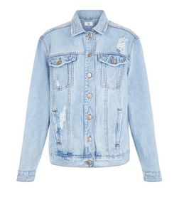 Blue Ripped Oversized Denim Jacket  | New Look