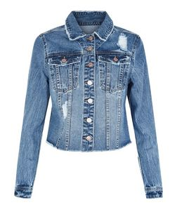 Blue Ripped Denim Jacket  | New Look