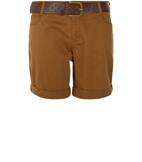 Tan Belted Shorts  | New Look