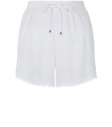 White Embroidered Pom Pom Trim Shorts | New Look
