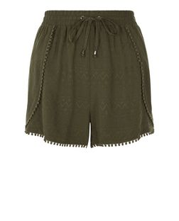 Khaki Embroidered Pom Pom Trim Shorts | New Look