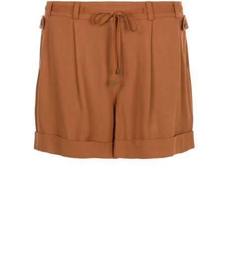 Tan Tie Waist Turn Up Shorts  | New Look