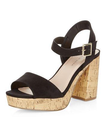 Sandalo  donna Wide Fit Black Suedette Contrast Flared Heel Sandals