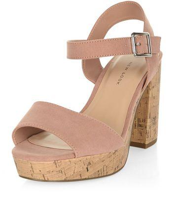 Sandalo  donna Wide Fit Nude Suedette Contrast Flared Heel Sandals