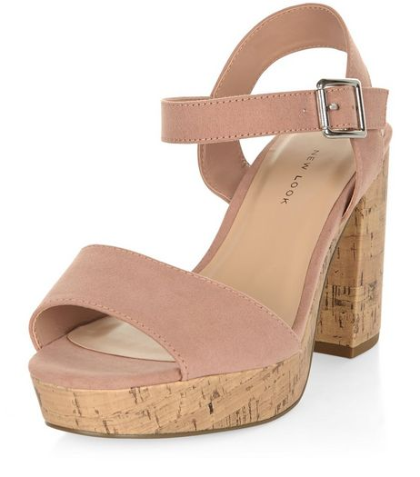 Wide Fit Nude Suedette Contrast Flared Heel Sandals  | New Look