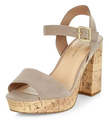 Sandalo  donna Wide Fit Light Brown Suedette Contrast Flared Heel Sandals