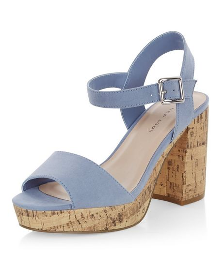 Wide Fit Blue Suedette Contrast Flared Heel Sandals  | New Look