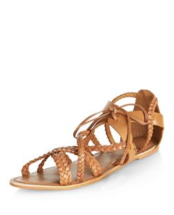 Wide Fit Tan Leather Plaited Ghillie Sandals | New Look