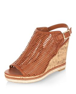 Wide Fit Tan Woven Peep Toe Wedges | New Look